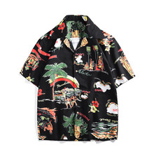 New arrival fashion print loose Shirts Men's casual shirt Tops A352