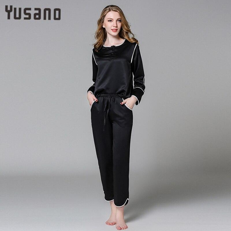 Womens Satin Pajamas Pyjamas Set Long Sleeve Sleepwear Pijama Pajamas Suit Female Sleep Two Piece Set Kawaii Plus Size Kugurumi