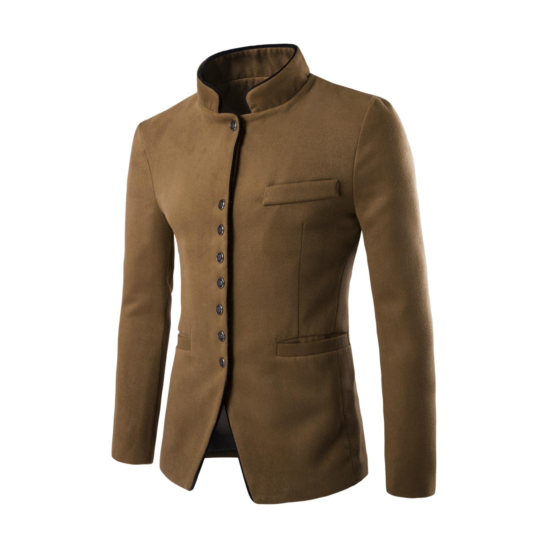 Winter Coat New Autumn Men Casual Suit Men Stand Collar Worsted Fabric Pocket Button Decorate Men'S Leisure Suit Coat