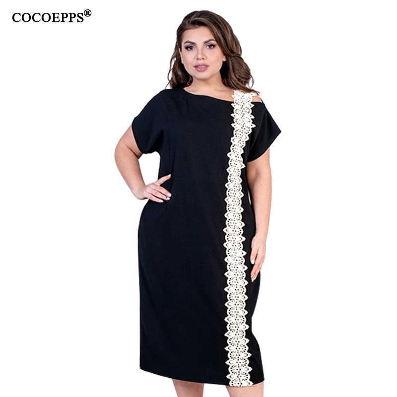 5XL 6XL 2019 повседневное женское летнее кружевное платье плюс размер платье Большие размеры элегантные офисные платья вечерние черный женская большие Короткий рукав женское Большой размеры одежда