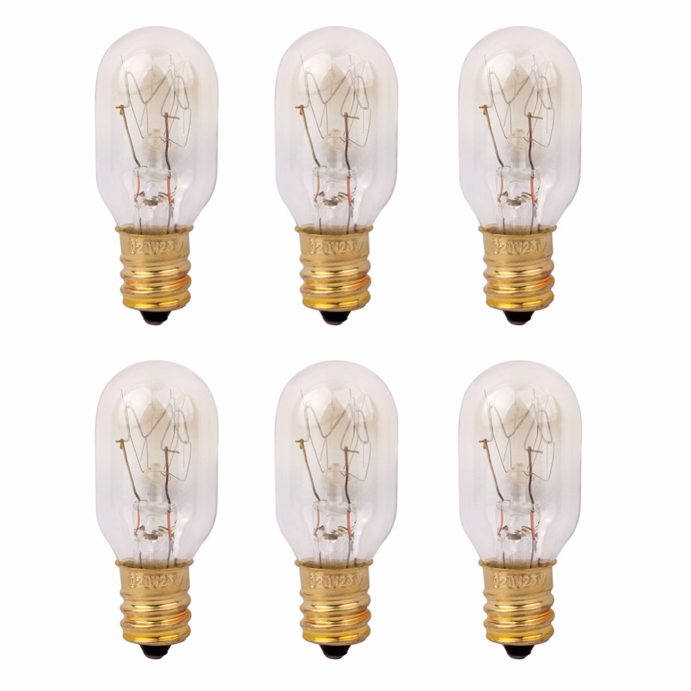 120V 25 Watt Himalayan Salt Lamp Light Bulbs Incandescent Replacement Bulbs E12 Socket-6Pack