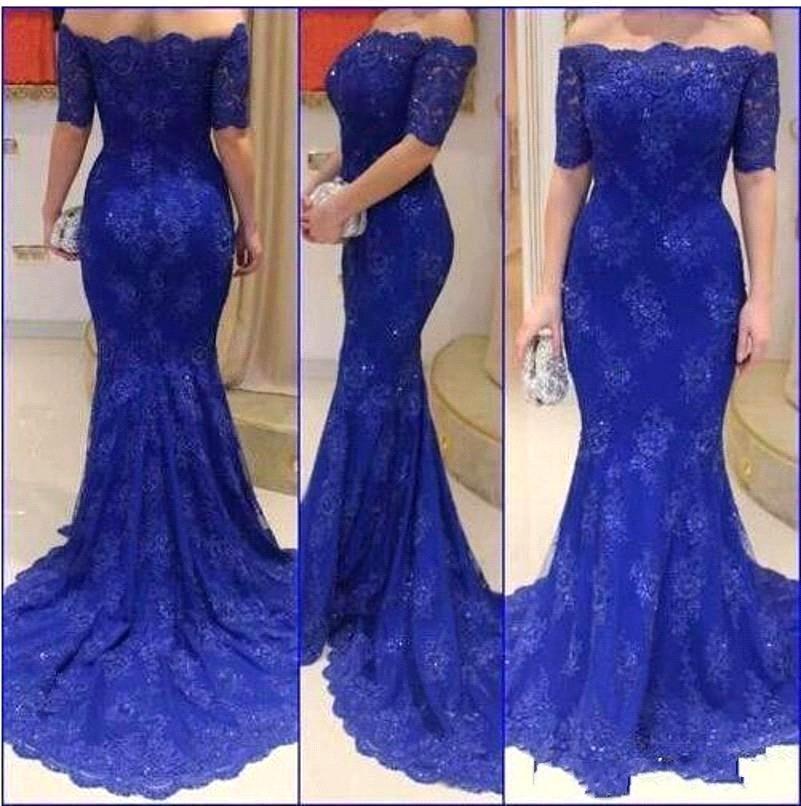 Blue Vestidos De Festa Lace Evening Dress Plus Size Special Dresses