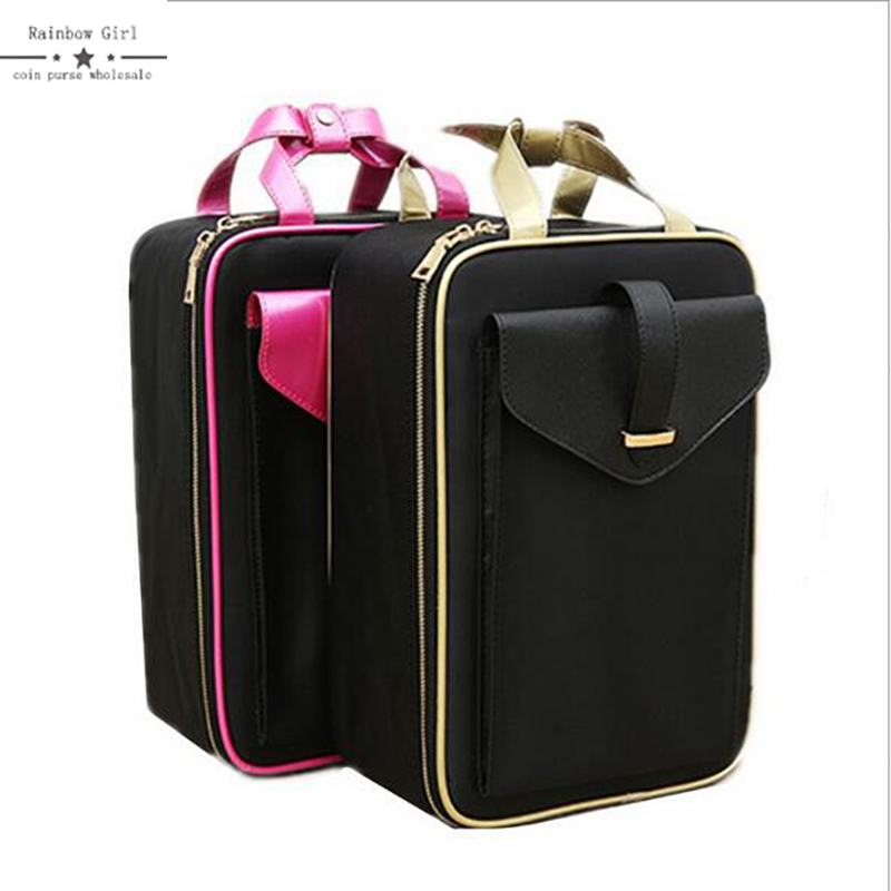 2018 Large Women Cosmetic Cases Professional Toiletry Bag Ladies Make Up Bag Wash Organizer Cosmetic Bags for Cosmetics Brush fashion cosmetic bags high quality patent leather make up bags ladies cosmetic cases organizer bags cute cosmetic bag