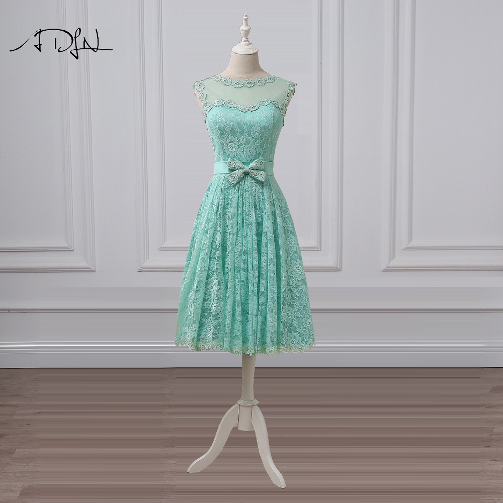 ADLN Elegant Tea-length   Cocktail     Dresses   Lace Scoop A-line Mint Green Short Party   Dress   Vestidos de Festa Curto Formal Gown