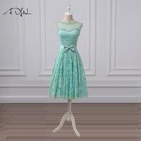 ADLN Elegant Tea length Cocktail Dresses Lace Scoop A line Mint Green Short Party Dress Vestidos de Festa Curto Formal Gown