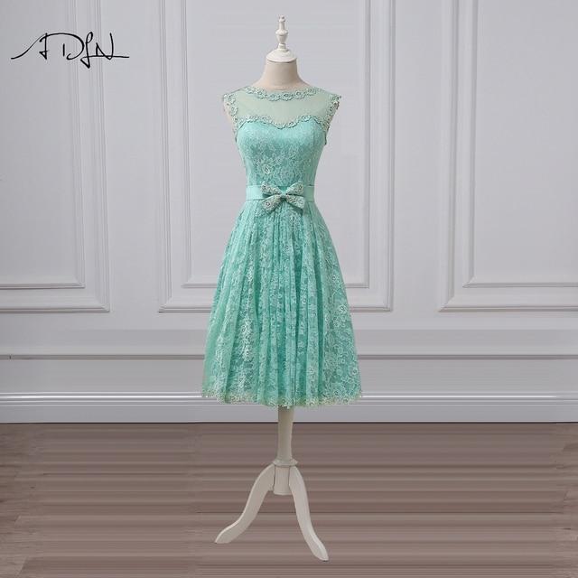 Adln Vintage Tea Length Evening Dress Lace Scoop A Line Mint Green Short Homecoming