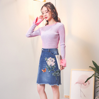 Spring new horn sleeve knit sweater & irregular 3D embroidered denim skirt suits girl knitwear basic clothes 2 pcs vestido kit