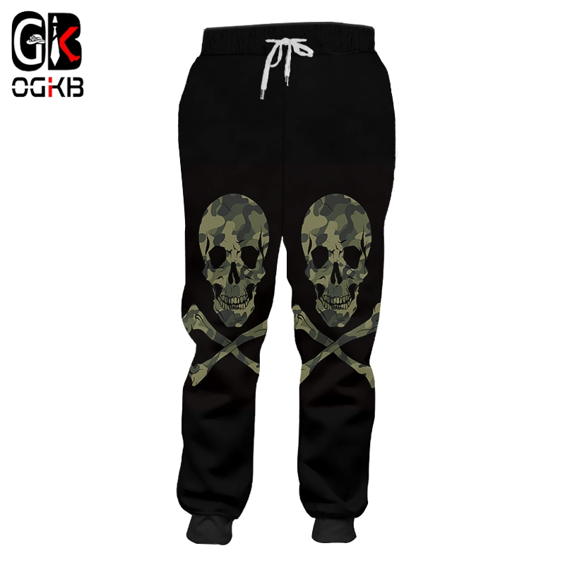 Men's Clothing 2019 Latest Design Ogkb Man 3d Printed Camouflage Skull Best Selling Pants Large Size Mens Black Green Stitching Sweatpants 6xl Strengthening Waist And Sinews