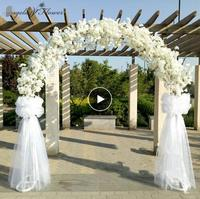 New artificial flower cherry blossom with metal wedding iron arch stand full cherry blossom +arch shelf DIY window party decor