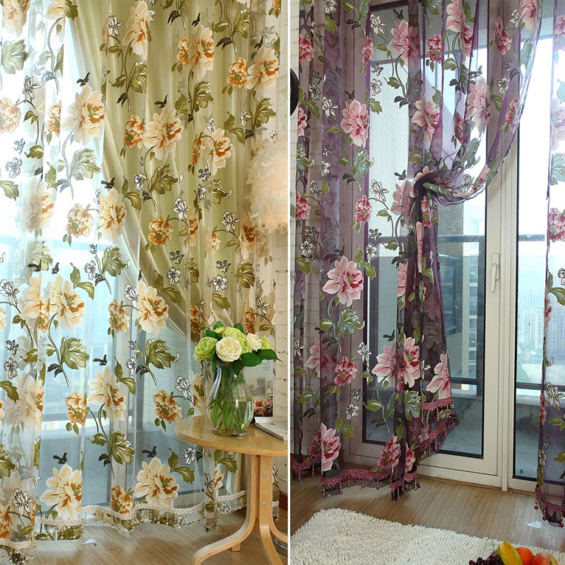 100cm x 200cm Elegant Floral Sheer Tulle Voile Curtain Window Panel Drape Scarf Valances Curtains New AA ...
