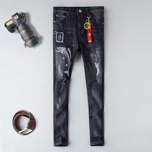 2019 New jeans men Fishbone embroidery slim fit black ripped distressed plus size 29-38 homme denim trousers hole male jeans