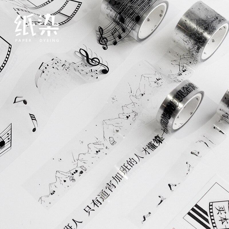 Retro Black White Bunny Rabbit/mushroom/film/yoga Girl/tiny Spots/music/character PET Masking Tape Washi Tape Diy Scrapbooking