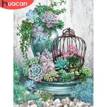 HUACAN Diamond Embroidery Cross Stitch Flower Painting 5d Mosaic Full Square Decoration Home