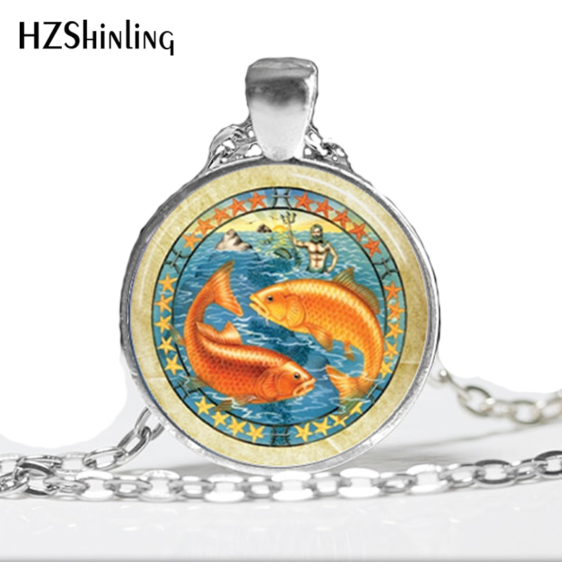 Astrology Jewelry,Pisces Necklace,Zodiac Sign Fish February March Birthday Art Pendant,Glass Dome Pendant,Zodiac Necklace HZ1