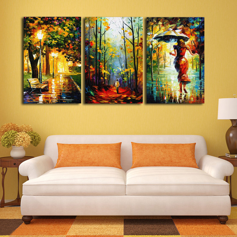 canvas art abstract art on canvas 3 street lights tree figure walking pictures wall home living room without frame