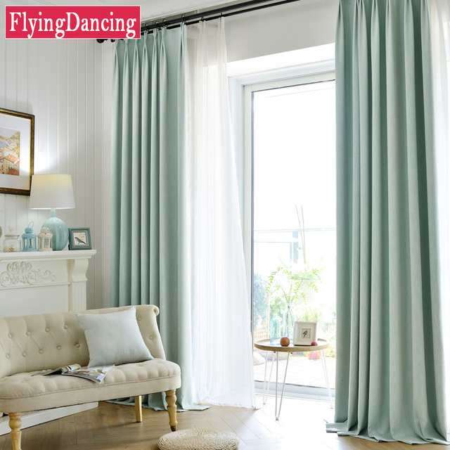 Modern Solid Linen Blackout Curtains For Living Room Cotton Custom Made Kitchen Curtain Office Embroidered