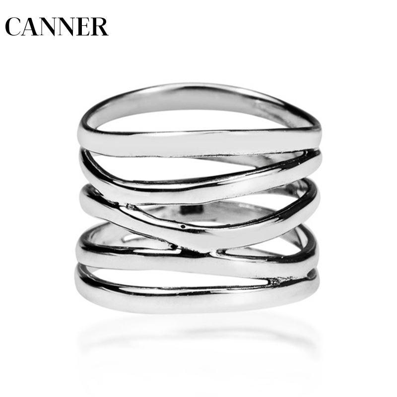 CANNER Gothic Rings Men Ring Punk Wide Five Band Coil Wrap Jewelry Steam Rock Stainless Steel R4