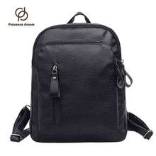 Backpack Women College Student School Backpack Bags Vintage Girls Teenagers Black PU Leather Women Backpacks PDSJB-05