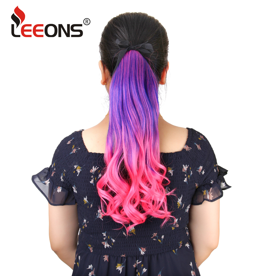 Leeons Body Wave Ponytail 21Colors Available High Temperature Fiber Synthetic Fake Hair Wraparound Ponytail Extensions for Women