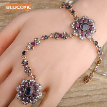 Blucome Vintage Wide Flower Bracelet Ring Set Gold Plated Crystal Pulseiras Feminino Blue Turkish One Piece Bracelets Ring Joias