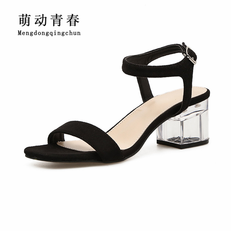 Women Pumps 2018 New Gladiator Peep Toe Square Heel Summer Shoes Women Flock Casal Buckle Strap Classics High Heel Pumps xiaying smile summer new woman sandals platform women pumps buckle strap high square heel fashion casual flock lady women shoes page 8
