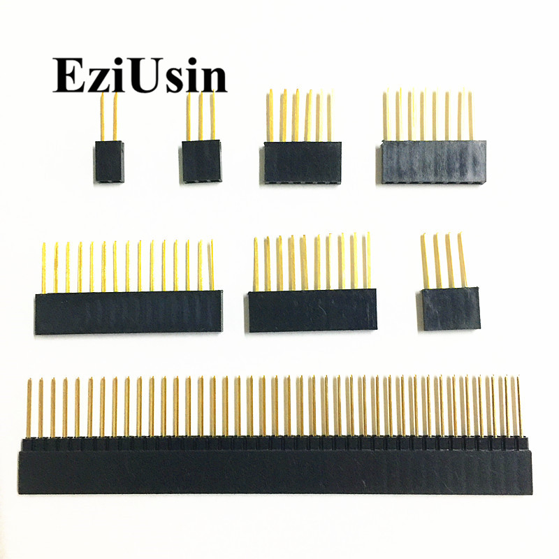 2.54mm Single Row Female Long Pins 11mm 15mm Breakaway PCB Board Pin Header Socket Connector 1*2/3/4/6/8/10/15Pin For Arduino