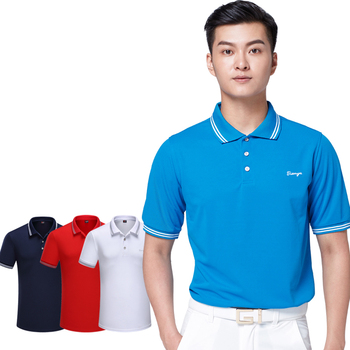 Men Golf T Shirt Plus Size Summer Short-sleeve Golf Clothes Breathable Sweat Absorbing Quick Dry Polo T-shirt