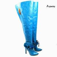 Aiyoway/женские ботфорты выше колена с острым носком на высоком каблуке, украшенные мехом крокодила, зимние высокие сапоги синего цвета
