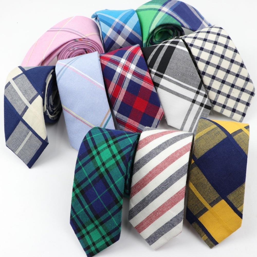 Men Tie Colorful Men's Plaid Necktie Casual Streak Suit Bowknots Neckties Male Cotton Skinny Slim Ties Cravat