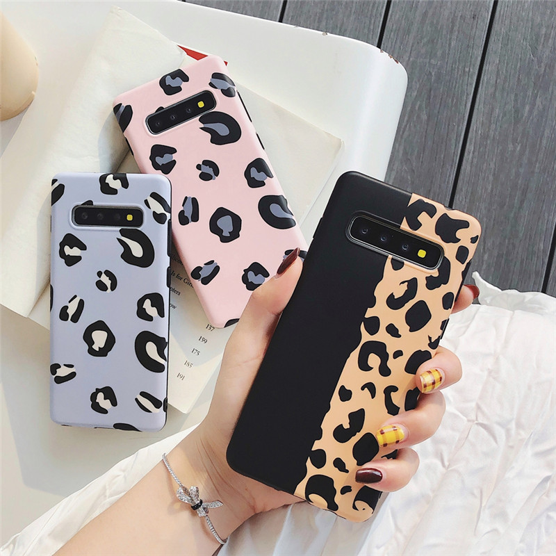 Leopard Print <font><b>Case</b></font> For Samsung A7 5 3 2018 Luminous <font><b>Case</b></font> Hard PC Back Cover For Samsung Galaxy S9 <font><b>S8</b></font> Plus Note 8 9 Coqu image