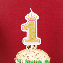 Pink Gold Crown Birthday Number Candle Cake 0