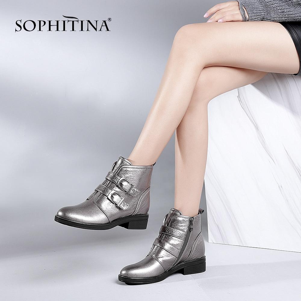 e947a8bd91 SOPHITINA ręcznie buty motocyklowe 2018 moda lita skóra naturalna okrągłe  Toe botki wysokiej jakości klamra kobieta buty B70 w SOPHITINA ręcznie buty  ...