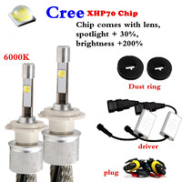 One Pair 110W EMC CANBUS ERROR FREE LENS Car Led Headlights Kit Cree XHP70 Chip High Power Supper Bright H7 H4 H11 9005/9006