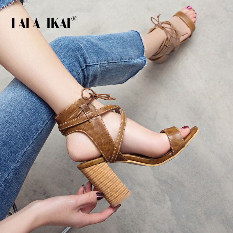 ac1aa2eb LALA IKAI damskie sandały wysokie obcasy Lace-Up lato Sexy damskie buty na wysokim  obcasie
