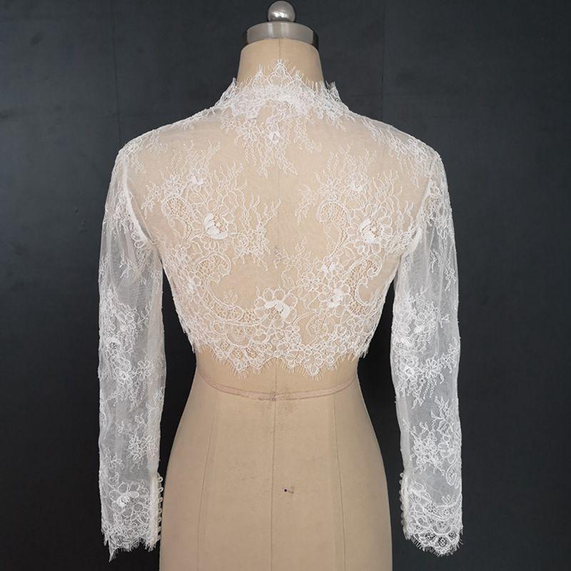 Robe de mariée à manches longues à col rond, robe châle en dentelle, châles de mariée blancs boléro dentelle cape de mariée sur mesure