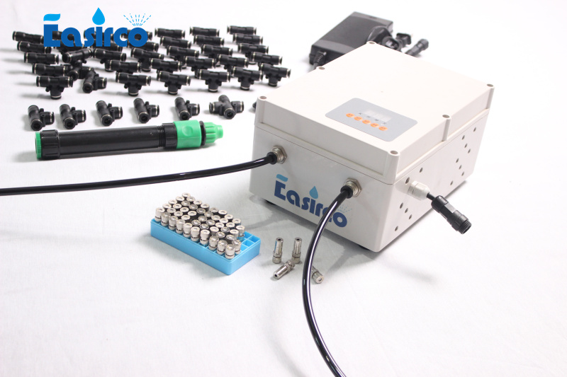 40pcs nozzle outdoor cooling system with Solenoid valve and programmable cycle timer water resource from water