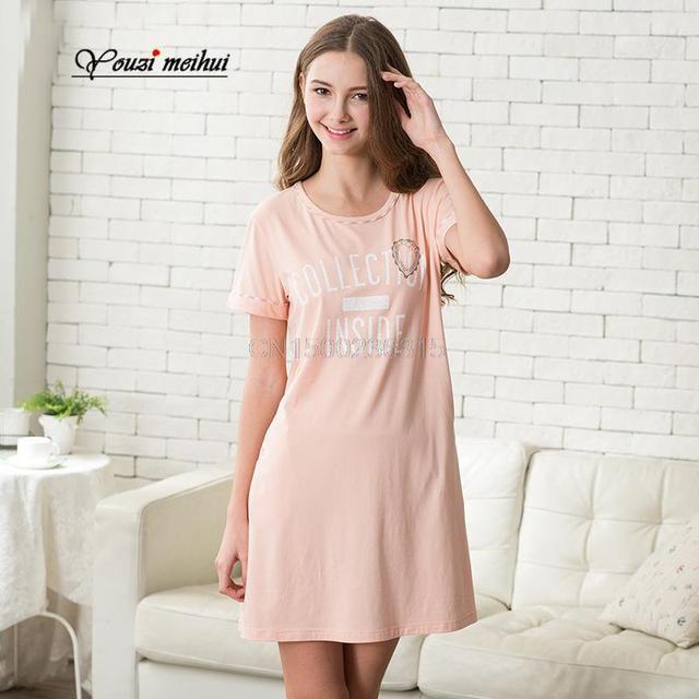 Algodón femenino de corea camisón corto verano de manga delgada falda del vestido de la camiseta del equipamiento casero simple delgado