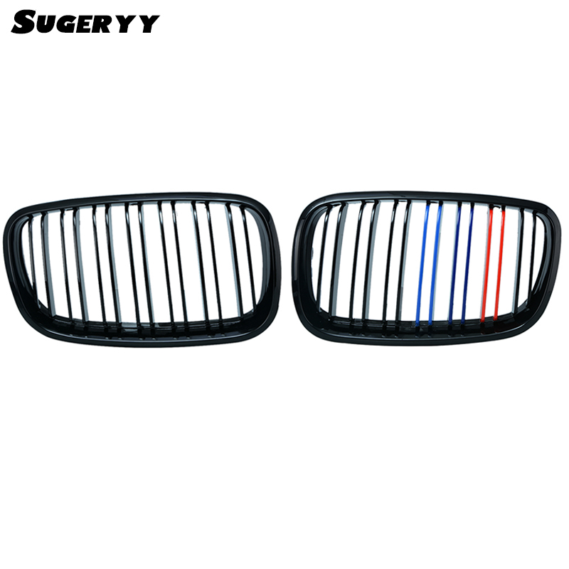 SUGERYY 1 Pair For BMW X5 E70 Front Wide Kidney M-Tri Gloss Black 3-Color Kidney Car Grill Grille Bumper Dual Slat Grille
