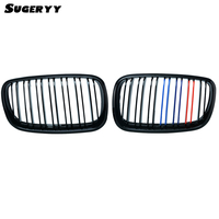 SUGERYY 1 Pair For BMW X5 E70 Front Wide Kidney M Tri Gloss Black 3 Color Kidney Car Grill Grille Bumper Dual Slat Grille