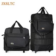 JXSLTC 2018 Large Capacity Wheels luggage bag Retractable Folding Tug Box Unisex Waterproof Portable Luggage Storage Bag