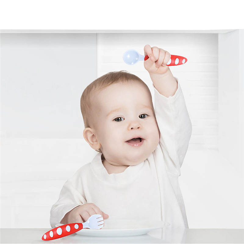 2pc Children Tableware Baby tableware Fork Set Utensil Safety Tableware Infant Solid Feeding for Baby Feeding Bowl fast shipping