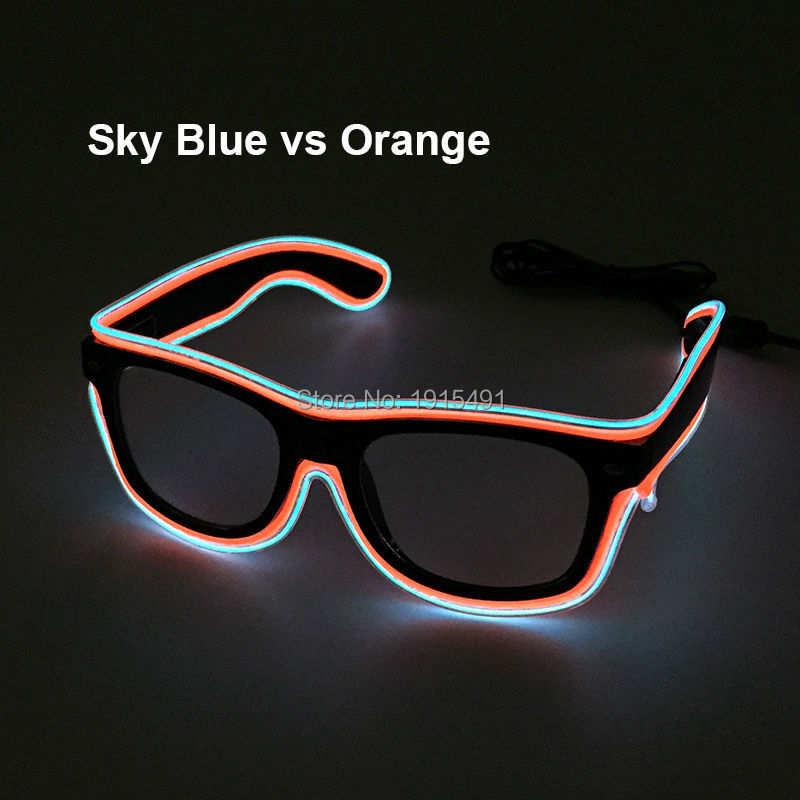 New Style Popular Graduation Decor European Style Colorful EL wire Sunglasses Holiday Lighting Led Light up Glasses for Carnival