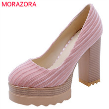 MORAZORA 2019 new arrival women pumps shallow spring summer shoes female square high heels platform shoes woman dress shoes цена