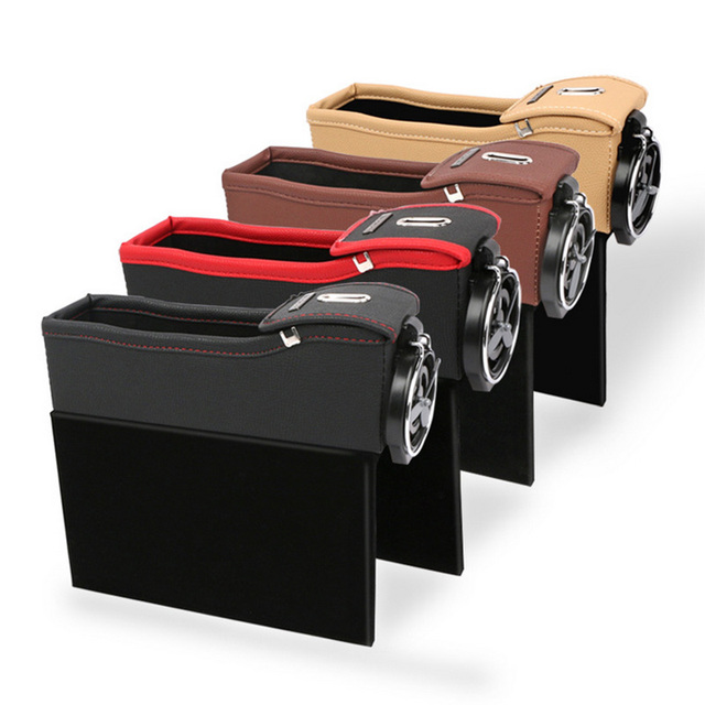 Merveilleux Car Seat Crevice Storage Box Seat Gap Filler Seat Organizer PU Leather With  Cup Holder Coin