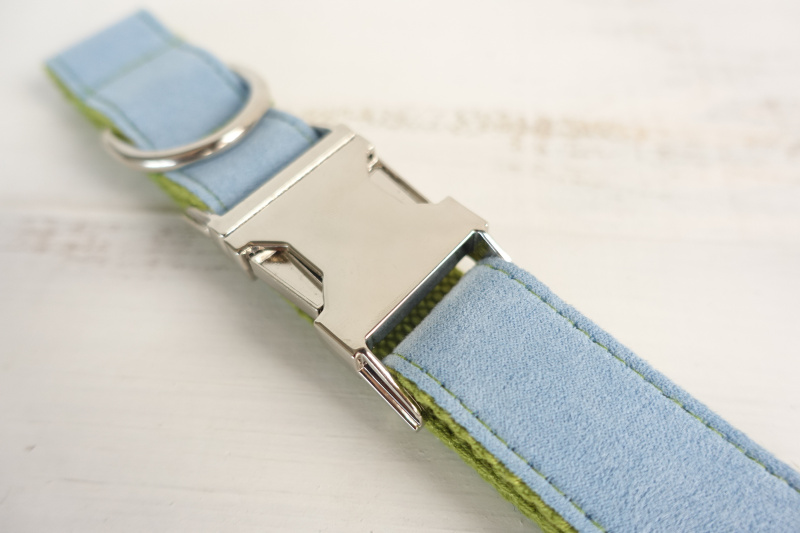 100pcs/lot MUTTCO wholesale self-designed accessory BLUE COVER GREEN handmade wathet blue and green dog collar and leash 5 sizes