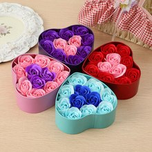 Artificial Soap Flowers Rose Heart Shaped Tin Box Valentine's Day Sky Blue Box Sky Blue Flower Festive Party Decoration Ornament