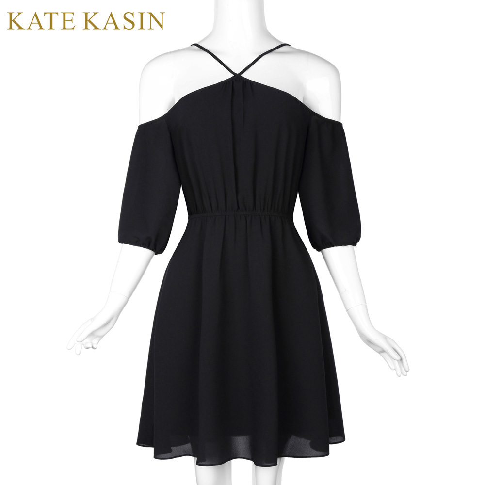 Kate Kasin 2017 New Arrival Women Summer Sexy Dresses Open Shoulders Halter Spaghetti Strap Cold-Shoulder A-Line Polyester Robe