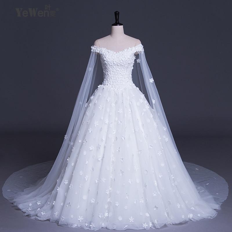 8e2cb8452910b 2018 off shoulder Beach White Lace Flowers Luxury Long Royal Train Plus  Size Wedding Dresses Bridal gown vestido de novia