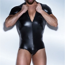 Men Sexy wetlook Faux Leather Lingerie Bodysuits Erotic wear Leotard Costumes gay fetish Hot PVC Latex Catsuit body Clubwear