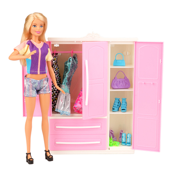 Fashion High Quality 36/set House Furniture =1  Closet Wardrobe + 35 Doll product Bedroom Clothes Shoes Accessories For Barbie